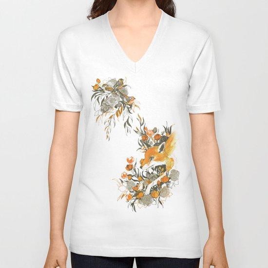 fox in foliage V-neck T-shirt
