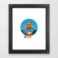 Cat & Fish Framed Art Print