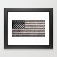 American flag - retro style desaturated look Framed Art Print