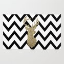 Glitter Deer Silhouette with Chevron Rug