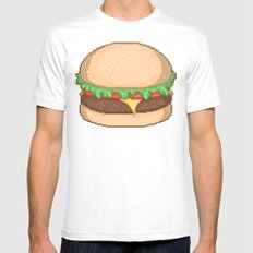 Cheeseburger Pixel White Mens Fitted Tee SMALL