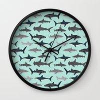 Sharks nature animal illustration texture print marine biologist sea life ocean Andrea Lauren Wall Clock