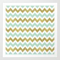 Mint Gold Glittery Chevron Stripes Art Print