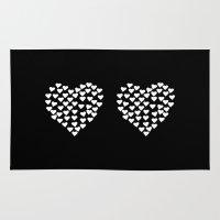 Hearts Heart X2 Black Rug