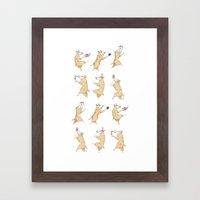 Queen's Corgi Dance Framed Art Print