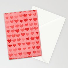 Pink Valentines Love Hearts Stationery Cards