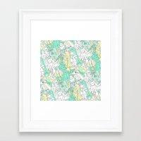 Space Toons In Pastel Gr… Framed Art Print