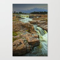 Cascading Waterfalls photographed at dusk in Falls Park Sioux Falls Canvas Print