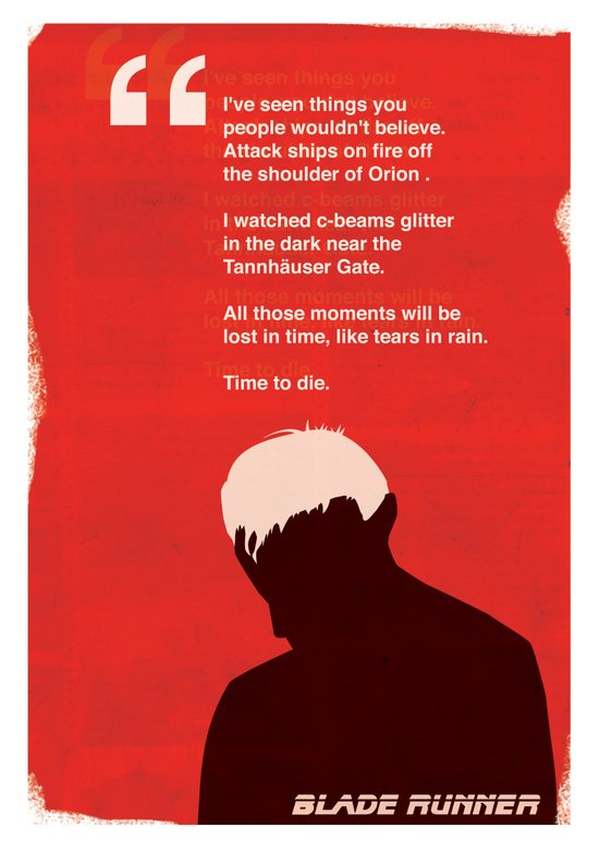 BLADE RUNNER TEARS IN RAIN Art Print