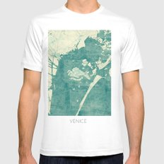 Venice Map Blue Vintage Mens Fitted Tee SMALL White