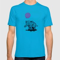 Baby Elephant Balloon Mens Fitted Tee Teal SMALL