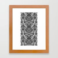 Aya damask mono Framed Art Print