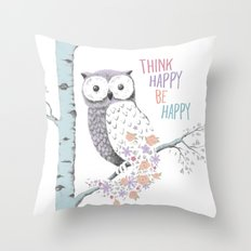 Think Happy Owl Throw Pillow