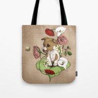 Puppy Posie Tote Bag