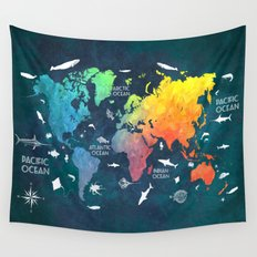 Ocean World Map color Wall Tapestry