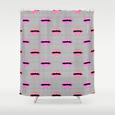 Lips - Hot Pink Lips Wit… Shower Curtain