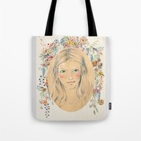 Girl With Flower Frame Tote Bag