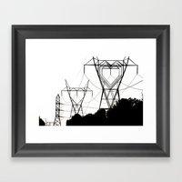 I heart your electricity. Framed Art Print