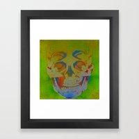 4i skull stencil art - white Framed Art Print
