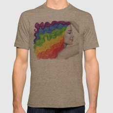 Rainbow Locks Mens Fitted Tee Tri-Coffee SMALL