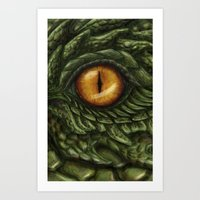 the green dragon Art Print