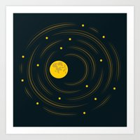 Moon And Stars Dream Art Print