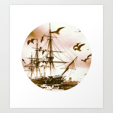 Telescope 5 tall ship Art Print