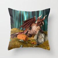 3D Illustration Dragon T… Throw Pillow