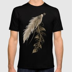 Bohemian Feather Mens Fitted Tee Black SMALL