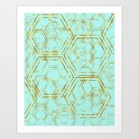 Hexagold Art Print