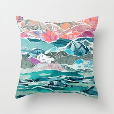 Abstract Collage Landscape Throw Pillow