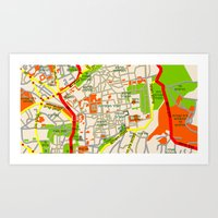 Jerusalem Map Design Art Print