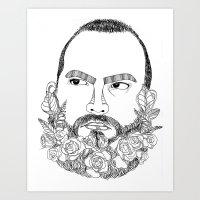 beard's pink flowers Art Print