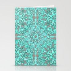 Mint Green & Grey Folk A… Stationery Cards