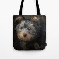 Yorkshire Terrier Puppy Portrait Tote Bag