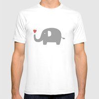 Elephants in love (white) Mens Fitted Tee White SMALL