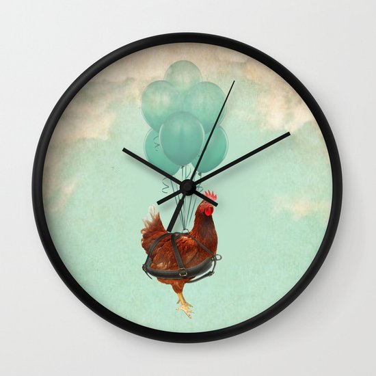 "Chickens can't fly (""The sky is falling!"") Wall Clock"