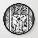 White Elephant Indian Ink Tribal Art Wall Clock