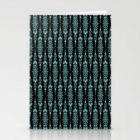 Damask Blue On Black Stationery Cards
