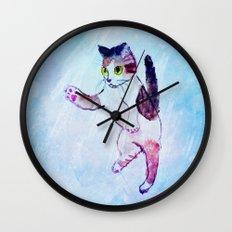 Watercolor painting Cat Wall Clock