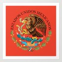 Close up of the Seal from the National flag of Mexico on Adobe red background Art Print