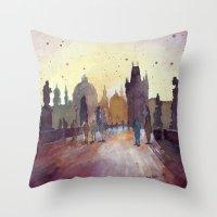 Prague, watercolor explorations in violet  Throw Pillow