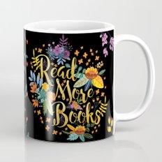 Read More Books - Black Floral Gold Mug