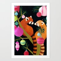 Red Pandas in Christmas Tree Art Print