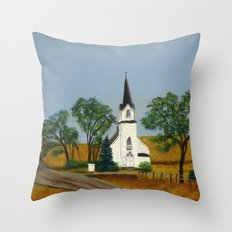 Church by the country road Throw Pillow