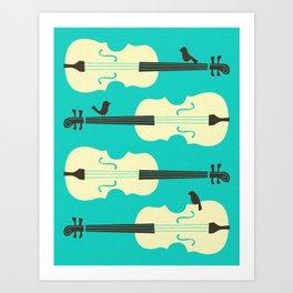 Art Print - BIRDS ON CELLO STRINGS - Jazzberry Blue