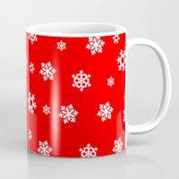 Snowflakes (White on Red) Mug