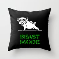 Beast Mode Pug Throw Pillow
