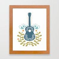 Fancy Folk Guitar Framed Art Print