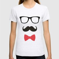 STAY CLASSY - MUSTACHE & BOW TIE  Womens Fitted Tee Ash Grey SMALL